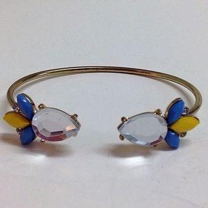 Blue & yellow rhinestone bangle bracelet gold ton
